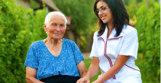 old woman and the caregiver